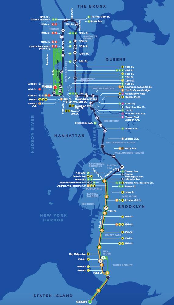 mapa NYC maraton